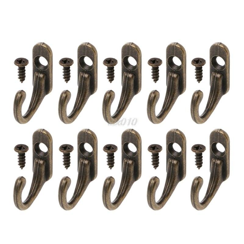 Perchas de doble capa de bronce Vintage 10 uds, ganchos de entrada montados en la pared con tornillos S02, venta al por mayor y envío directo