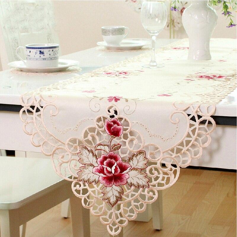 HELLOYOUNG Rosa bordada calado tela de encaje de corredor de la tabla de boda fiesta mantel para decoración del hogar de tamaño a 4