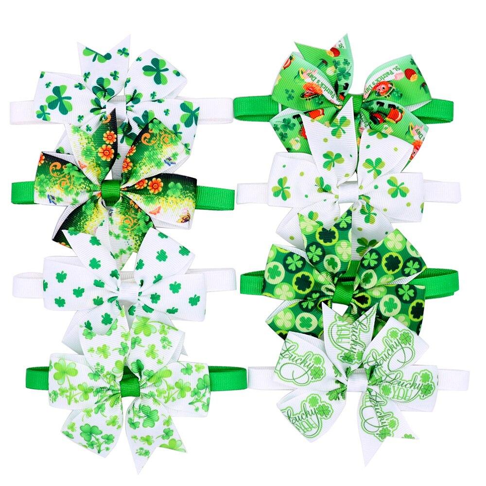 60 шт День Святого Патрика собака Клевер галстуки-бабочки для щенка Средний Воротник уход за домашними животными регулируемые галстуки-бабо...
