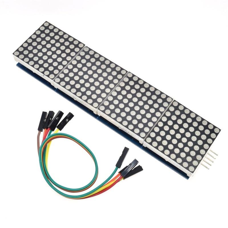 Módulo de matriz de puntos MAX7219 5 unids/lote para microcontrolador Arduino 4 en una pantalla con Línea 5P