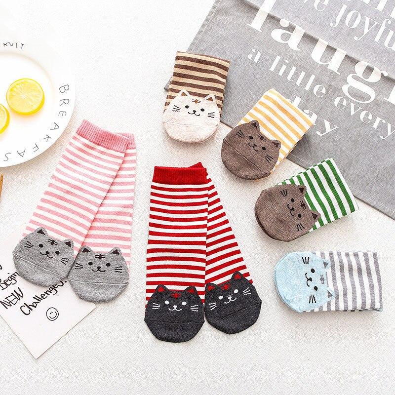 1 par de calcetines Kawaii 3D de algodón con dibujos animados para mujer primavera verano y otoño