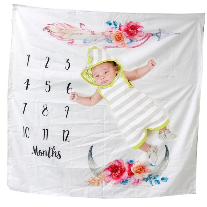 Infant Baby Milestone Blanket Photography Prop Blankets Letter Backdrop Cloth