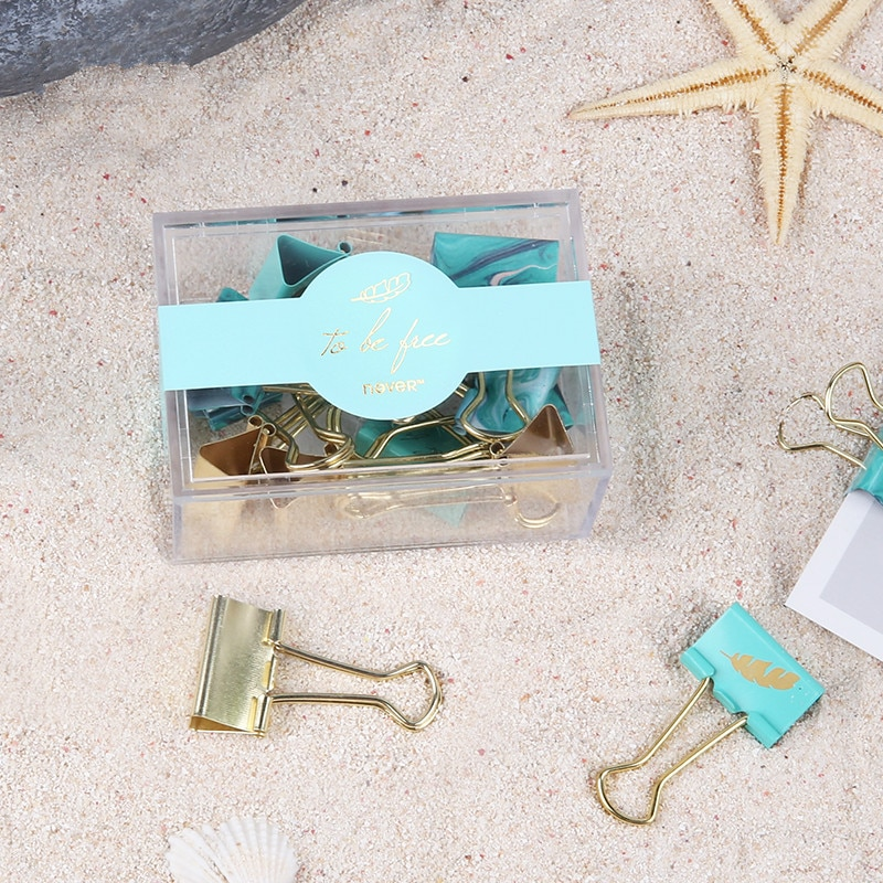 Light Blue Ticket Holder Swallow Tail Folder File Clip Long Tail metal clip Office Stationery Office Accessories Binder Clips