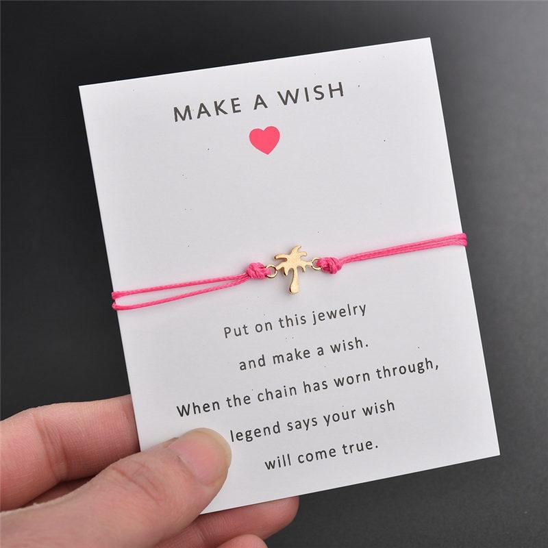Brazalete de pulsera con diseño de árbol de coco y tarjeta blanca con mensaje para mujer, pulsera de cuerda hecha a mano a la moda, joyería de playa, regalo para el Día de San Valentín