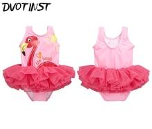 2017 Baby Girls Clothes Pink Flamingo Swan Tutu Swimwear+Hat 2pcs Set Swimming Suit Spa Bathing Summer Beach Clothing Costume