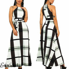 Women Halter Neck Long Evening Formal Dress Female Party Ball Gown Maxi Boho Plaid Dress