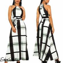 Women Halter Neck Long Evening Formal Dress Female Party Ball Gown Maxi Boho Plaid Dress