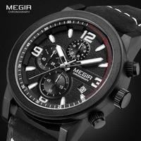 Мужские кварцевые часы Megir, с большим циферблатом и кожаным ремешком, водонепроницаемые