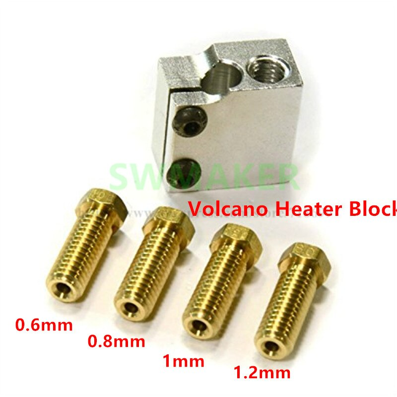 SWMAKER V6 Volcano hotend kit 4 Nozzles 1 Heater Block for RepRap 3D Printer 1.75/3mm filament