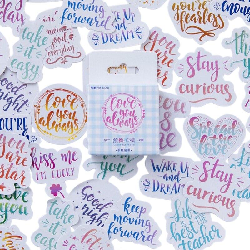 46 adet/paket renkli eğlenceli birçok stilleri kelimeler dekoratif yapışkanlı kağıt etiket en iyi dileklerimle mesaj arkadaşlar için