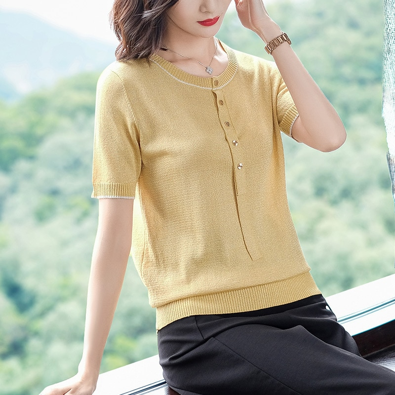 Camiseta de cáñamo de hielo para mujer, nueva camiseta de verano, cuello redondo, de manga corta, camiseta de alta calidad, suelta, Casual camisetas H9269