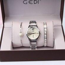 Marque de luxe femmes montres 3 pièces ensemble GEDI mode fête dames montre Design créatif Bracelet montre Relojes Mujer 2018 relogios