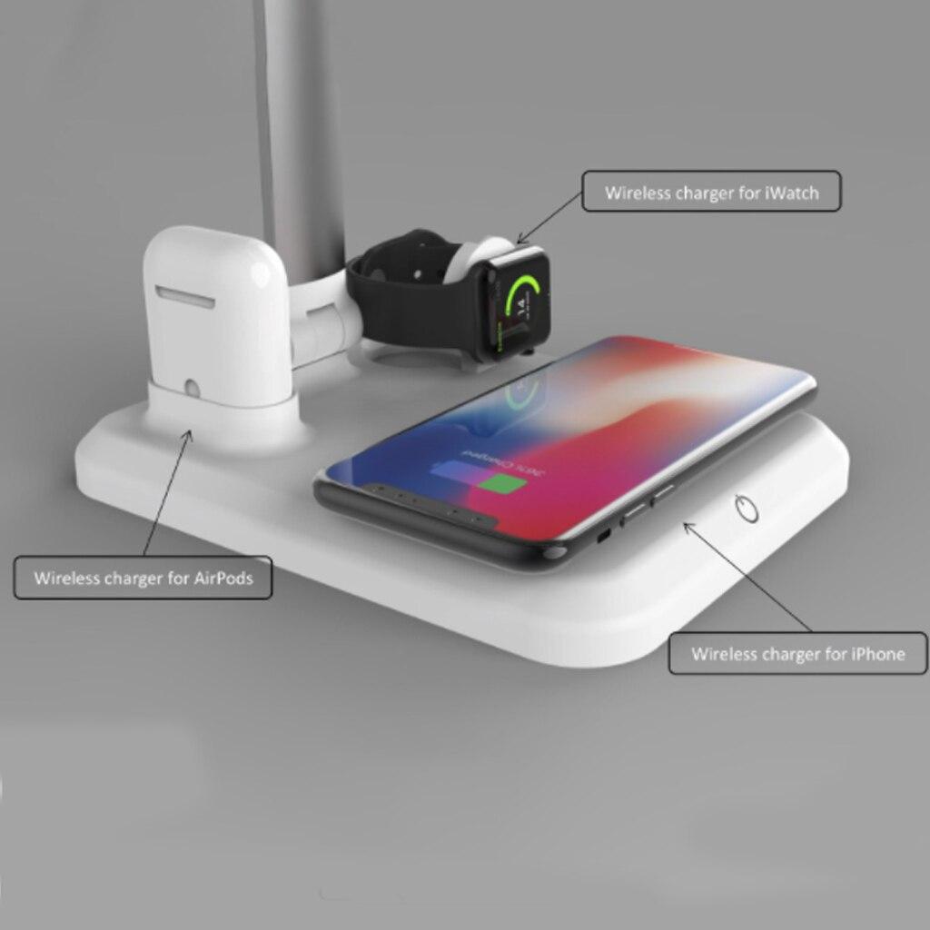 Cargador inalámbrico QI rápido 4 en 1 estación de carga inalámbrica USB para Apple Watch Airpods iPhone con lámpara de escritorio luz LED