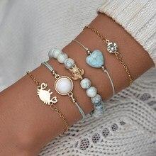 MissCyCy 5 PCS/Set Crab Tortoise Heart Charm Bracelets for Women Boho Glass Beads Bracelet Set Party Jewelry Wholesale