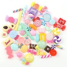 Cabochons de Design en résine à dos plat   30 pièces par lot, paillettes pastels, confettis de résine pour décoration de téléphone, bricolage pour enfants