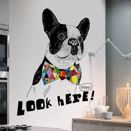 Pegatinas de pared animales de vinilo de decoración creativa para el hogar de perro divertido, cita aquí, póster moderno de calcomanías de pared
