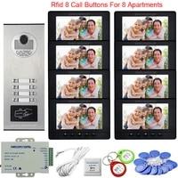 7inch video intercom system video intercom for 8 apartments access control video intercom 8 monitors outdoor waterproof doorbell