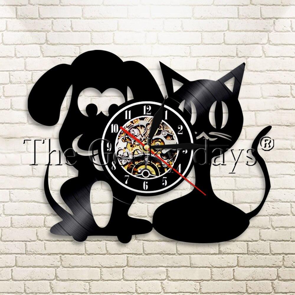 1 шт ветеринарная клиника виниловая запись настенные часы современный дизайн животное кошка собака животное домашний декор настенные часы ...
