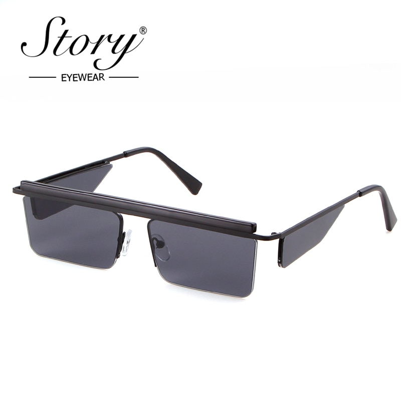 STORY Vintage rectángulo gafas de sol hombres 2018 marco cuadrado Retro medio Semi gafas de sol sin montura mujeres negro tonos de alta calidad