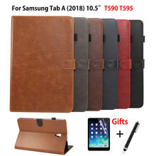 Étui de luxe Pour Samsung Galaxy Tab A A2 2018 10.5 pouces T590 T595 T597 SM-T595 Couverture Funda Tablette En Cuir Coque + Film + Stylet