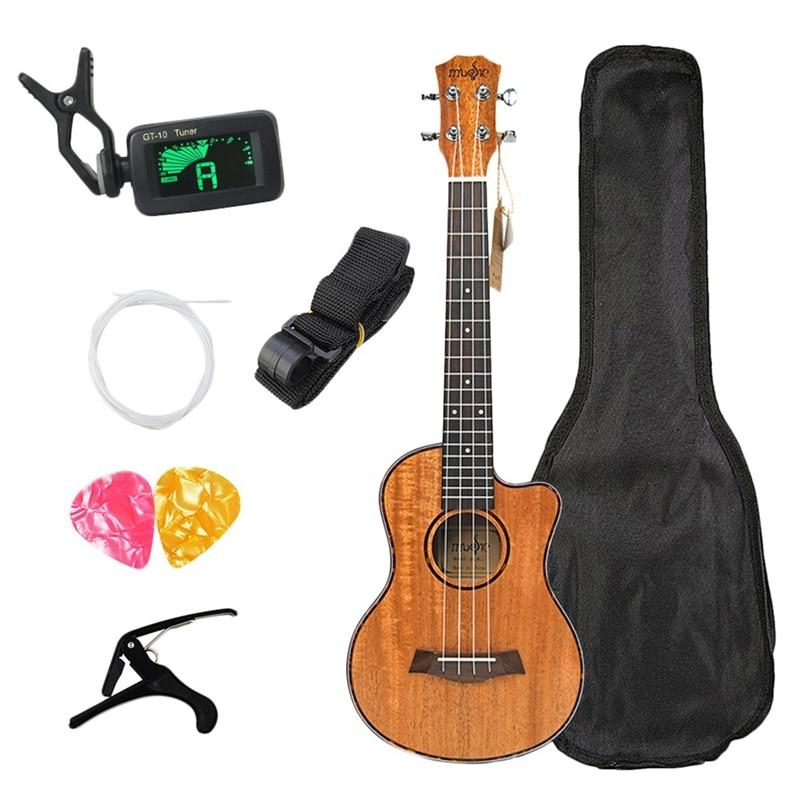 Kit de ukelele de concierto caliente de 23 pulgadas caoba Uku 4 cuerdas Mini Guitarra hawaiana con bolsa sintonizador Capo Strap Stings Picks para principiantes