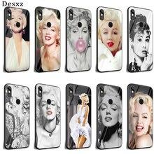 Desxz Audrey Hepburn Marilyn Monroe Fall Glas Für Xiaomi Redmi Hinweis 5 6 7 Pro 6A A1 4X 9 Pocophone f1 Abdeckung