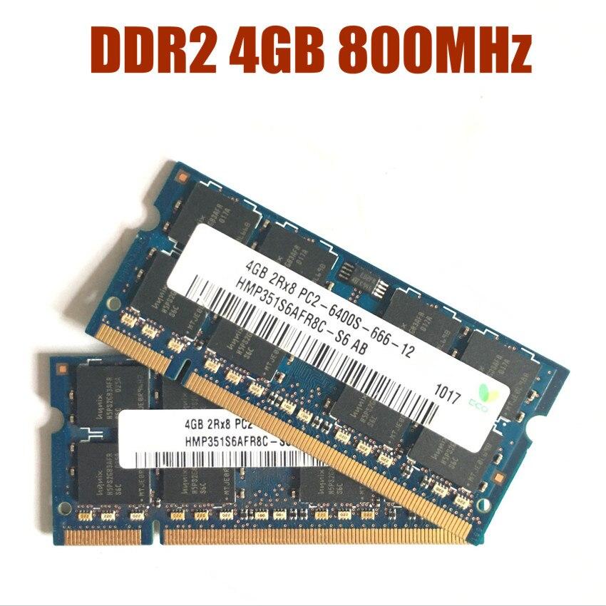Laptop 4 4GB PC2-6400 DDR2 800MHz de memória RAM Notebook 800G 6400S 4G 200-pin SO-DIMM chipset Hynix