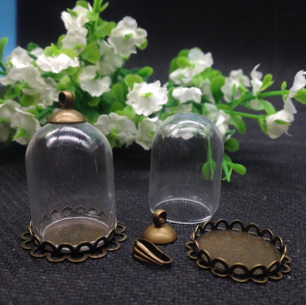 20 set/lot 25mm x 18mm (18 apertura) vial de vidrio cúpula burbuja con doble base de encaje de cobre con tapa superior DIY vial colgante collar