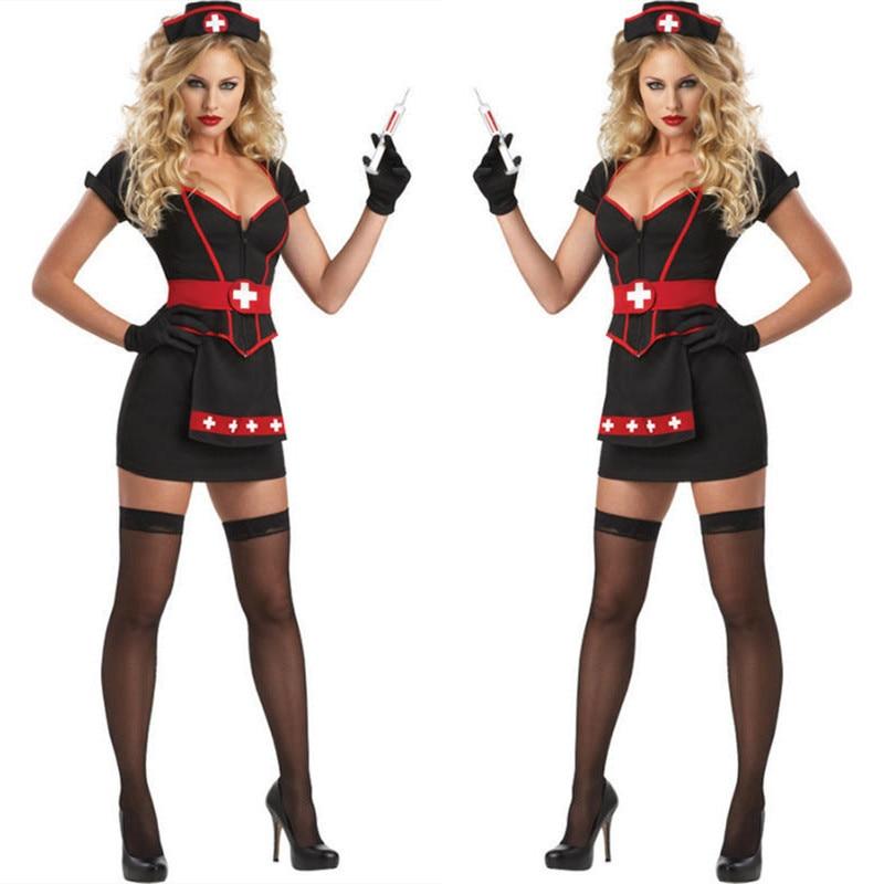 Halloween New Costume Black Sexy Fashion Doctor Nurse Cosplay Costume Women Nurse Uniform Hat+Top+Dress Retail 3 Piece Set
