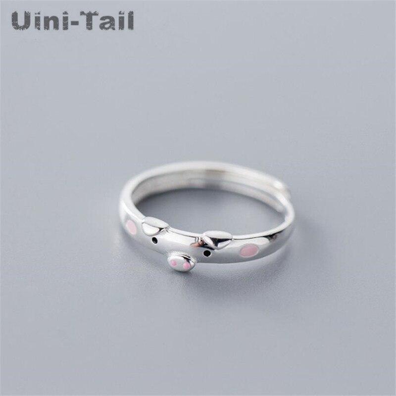 ¡Nuevo! Anillo de Plata de Ley 925 uini-tail, bonito anillo ajustable con apertura, anillo de goma de gota de cerdo Rosa dulce de alta calidad