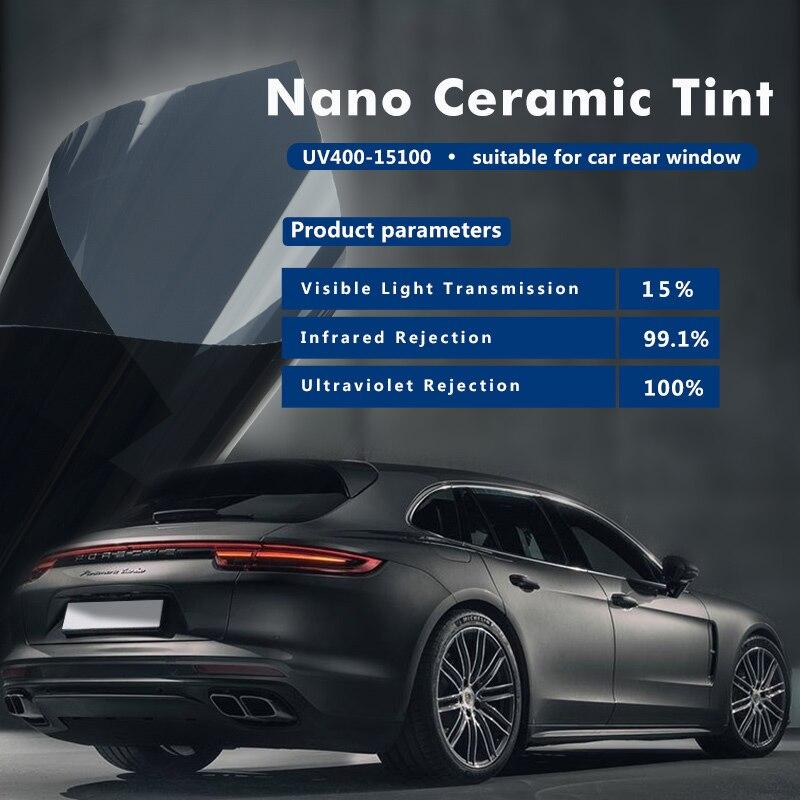 SUNICE, 0,5x5m, VLT15 %, ventanilla de tinte de coche negro, rollo de tintado, película de Nano cerámica, tinta Solar protectora de privacidad, para Auto, casa, Verano