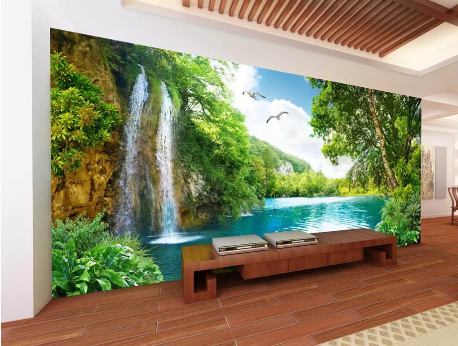Papel para paredes 3 d para vivir paisaje para habitación hermoso paisaje de cascada paisaje de fondo