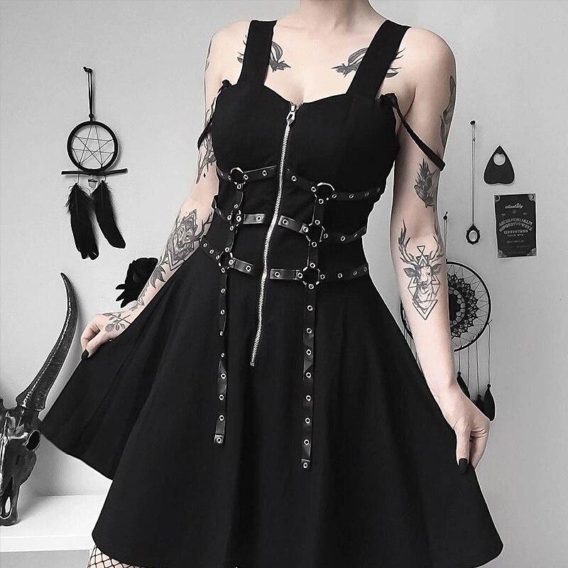 Square Neck Black Dress Women Summer Metal Rock Punk Wind Darkness Casual Streetwear Lady Mini Dress Sleeveless Zipper Dress