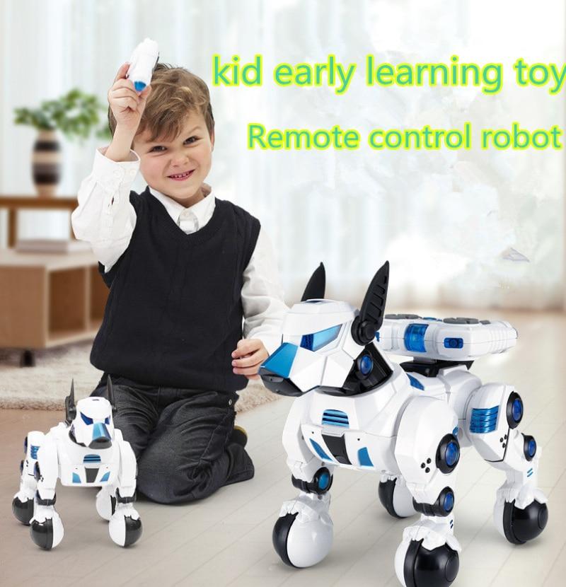 Juguete de aprendizaje temprano para niños, robot inteligente de control remoto, creación imaginativa para niños, juguete de regalo para mascotas de Perro robot rc