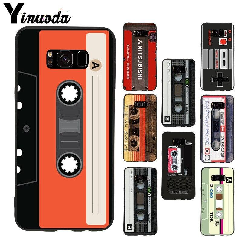 Yinuoda cinta cassette de Audio 2018 de color dibujo cubierta de teléfono de TPU suave para samsung galaxy note 8 S7 Edge s6 s8 s9 caso plus