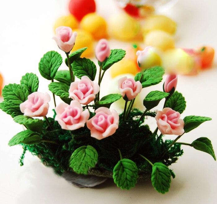 A01-X449 juguete para niños 112 casa de muñecas mini miniatura muñeca accesorios flor Rosa bush 1 Uds