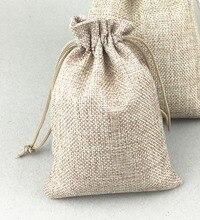 Sac en Jute naturel Vintage fait main, 100 pièces, sacs cadeaux à cordon pour mariage/noël