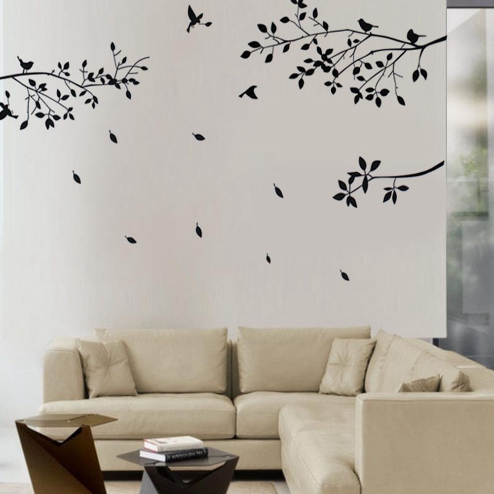 ÁRBOL NEGRO de moda pájaros en las ramas hojas pegatinas de pared del hogar adhesivos para salón decoración de la habitación del hogar artesanía de pared
