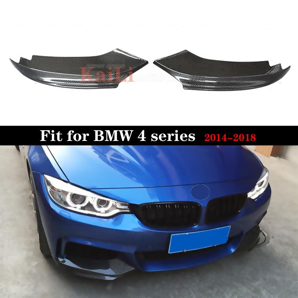 Estilo de coche de fibra de carbono Auto frontal Lip Splitter aletas para BMW 4 Series F32 F33 F36 M Sport Coupe Convertible 2 puertas 2014-2018