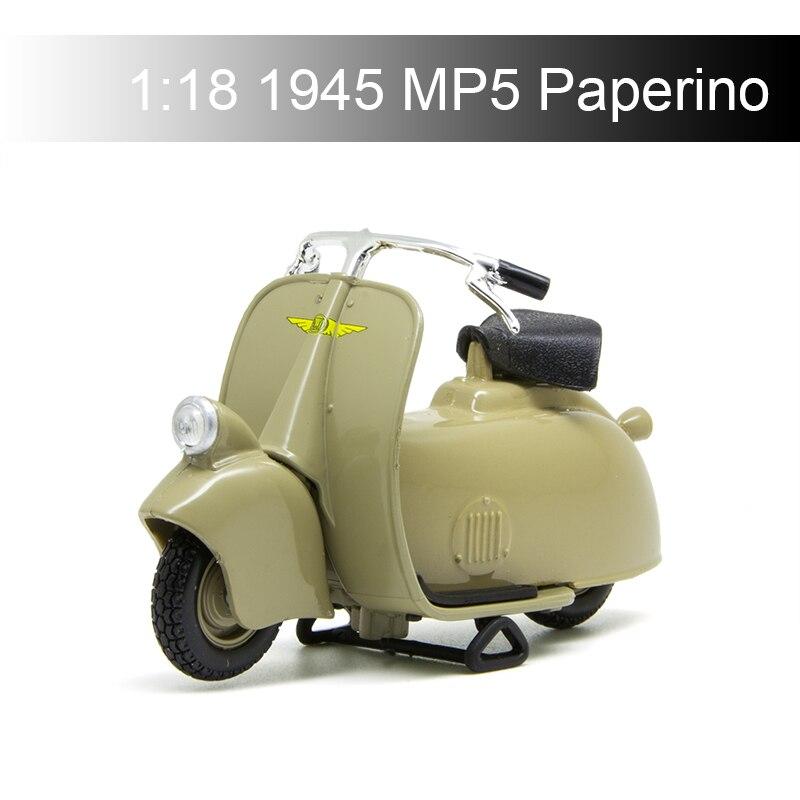 Maisto Vespa Piaggio 1945 MP5 Paperino 118, modelos de motocicleta, modelo de Base de bicicleta, Moto fundida, juguete para niños para colección de regalos