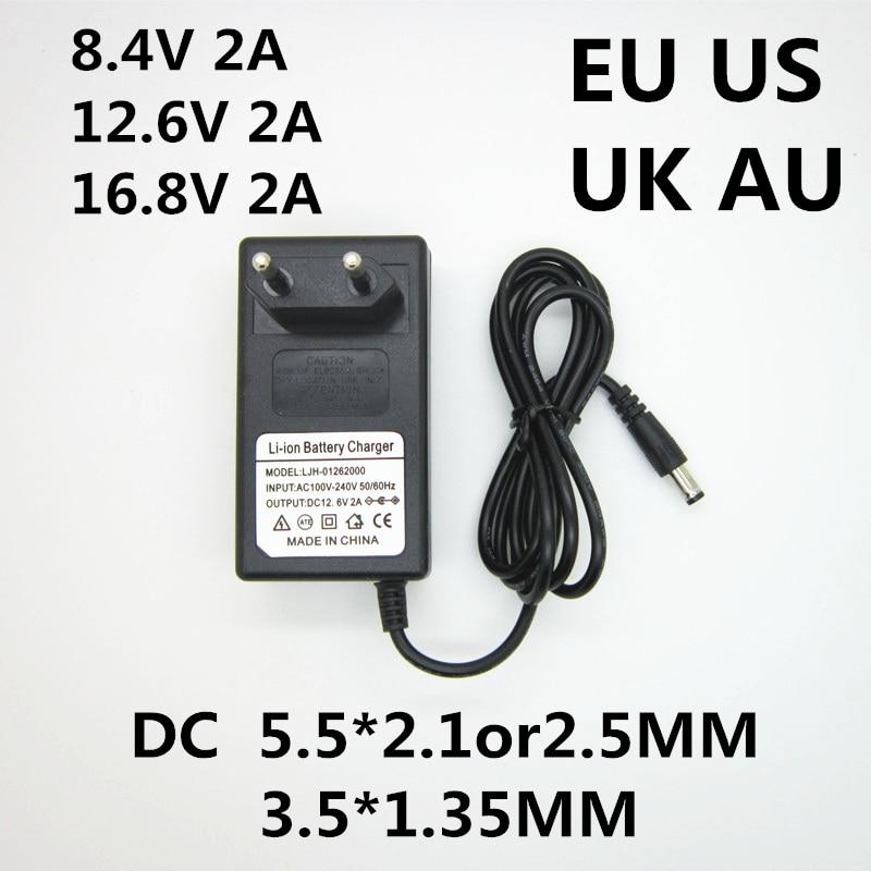 1 шт. AC 100-240V DC 8,4 V 12,6 V 16,8 V 2A 2000ma адаптер питания литиевая батарея зарядное устройство для 18650 литиевая батарея