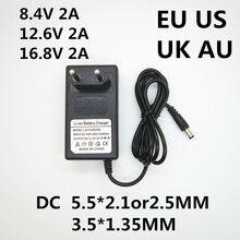 1PCS AC 100-240V DC 8,4 V 12,6 V 16,8 V 2A 2000ma adapter netzteil lithium- batterie ladegerät für 18650 Li-Ion lithium-batterie