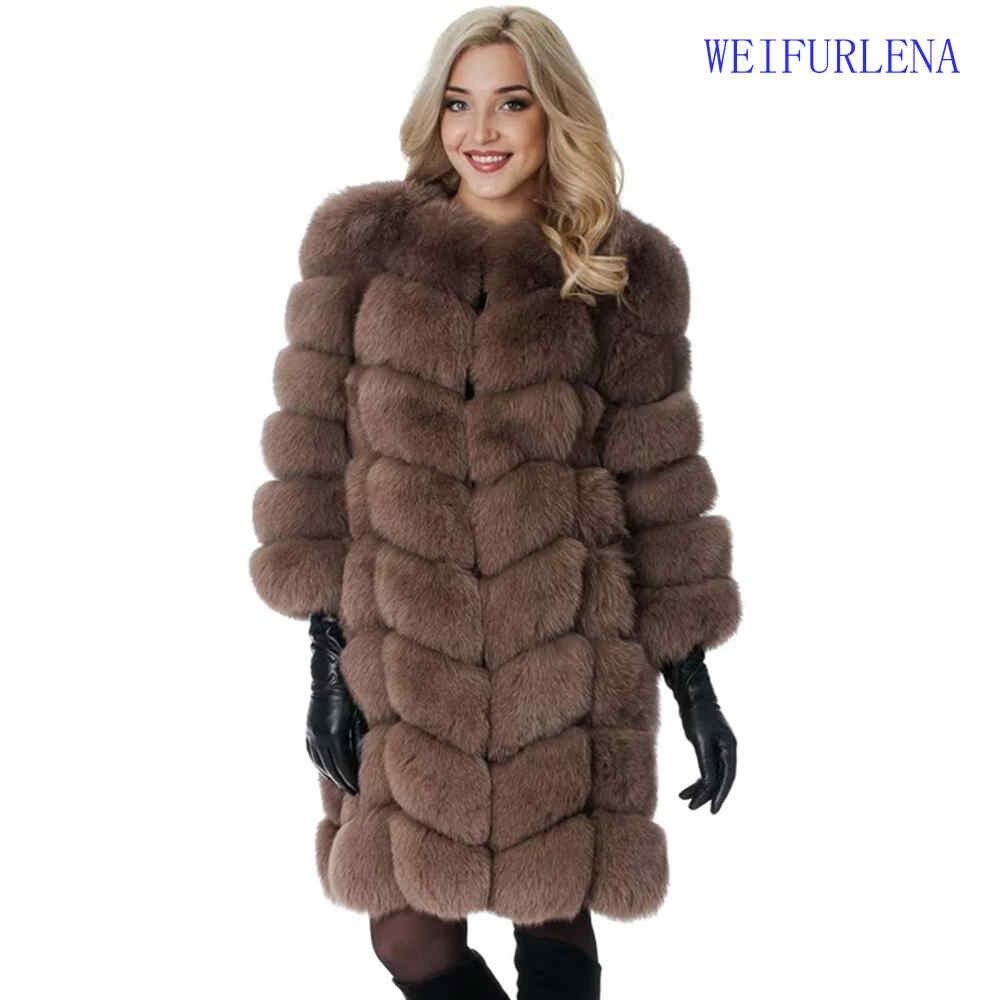 2017 90cm Brand Top Quality Natural Fur Coat Real Arctic Fox Vest Ladies Detachable Women Thick Design Winter Transformer Coat