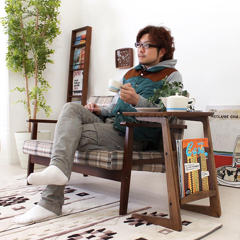 Personalidad japonesa sofá de mesa de centro con mesa de salón lateral Sala creativa simple de madera sólida pequeña mesa lateral