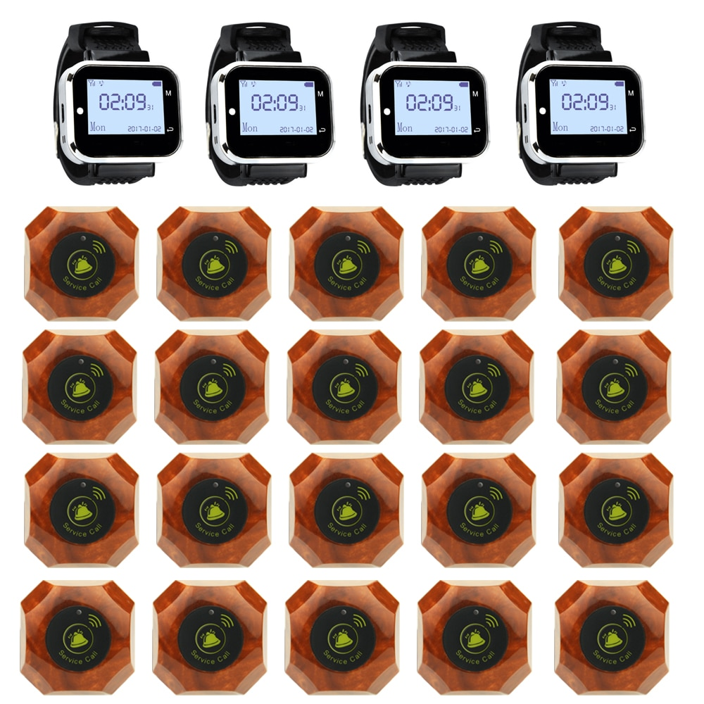 JINGLE BELLS 20 Calling Buttons 4 Watch Pager for Restaurant, cafe, bar/ Wireless Service Call Bell Wireless Calling System