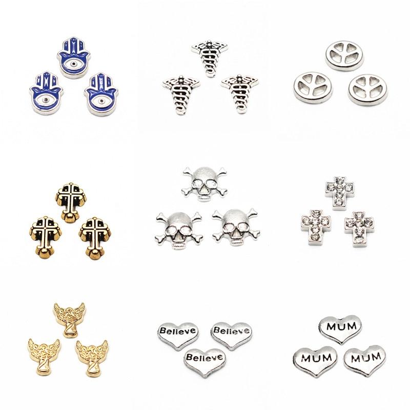 Symbole de paix flottant de Tai Ji, breloques flottantes, pendentif de mémoire, verre vivant, breloques, lot de 10 pièces