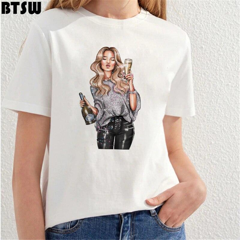 Ropa de mujer 2019, camisetas gráficas góticas, Camisetas estampadas de Vogue Wine Girl Harajuku, camiseta Shein Streetwear Vintage Chemise, camiseta femenina