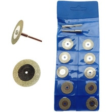 10PCS 16mm Mini Circular Saw Diamond Coated Rotary Tool Set Cutting Discs Blade Saw Wheels With 3mm Shank mandrels