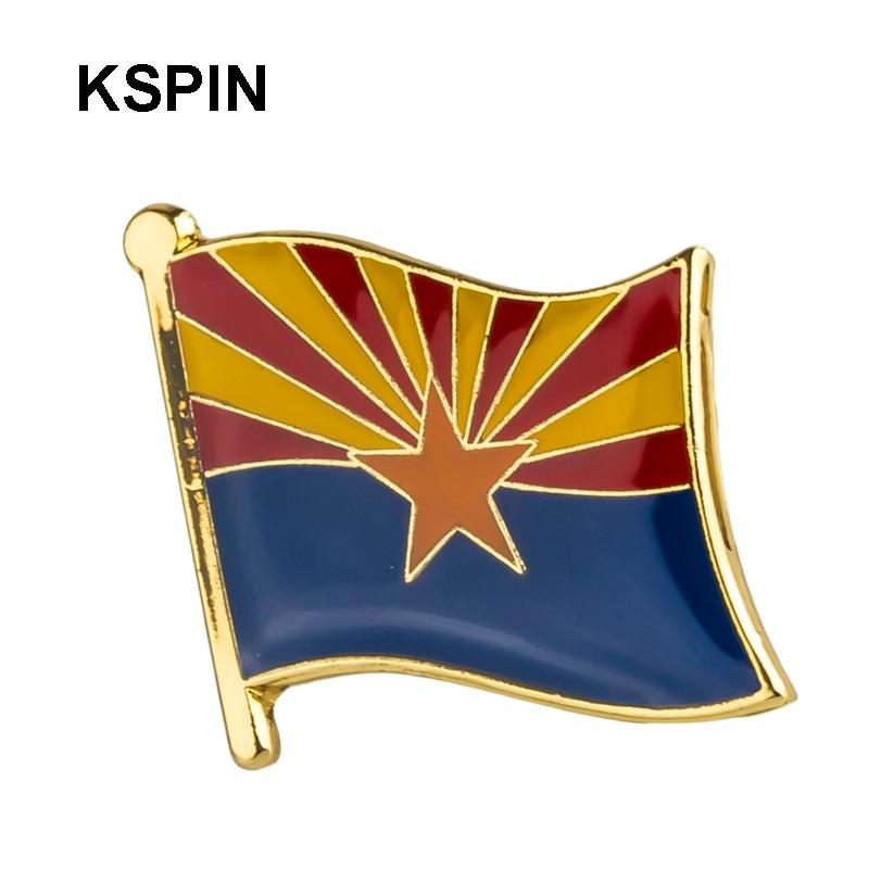 Insignia de Metal EE. UU. Bandera del Estado de Arizona Pin broche de solapa para mujer/Hombre Ropa 10 Uds. XY0203