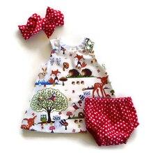Vêtements pour nouveau-nés   Tenue courte, motif Floral, bandeau, dessin animé, à pois, 0-24M, ensemble 3 pièces